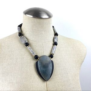 Vintage Crackle Stone Pendant Necklace